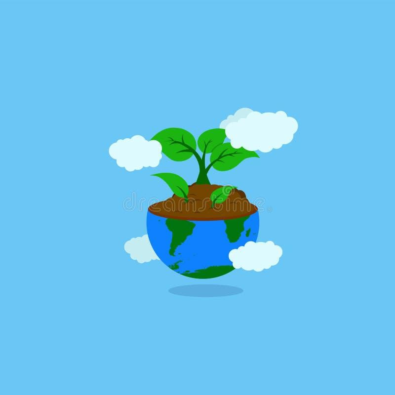 与土壤的地球例证和增长的植物或者树和叶子 向量例证