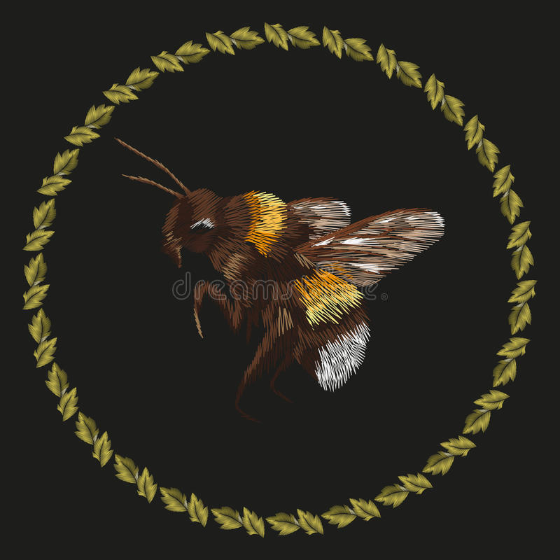 与土蜂的刺绣五颜六色的趋向样式 皇族释放例证