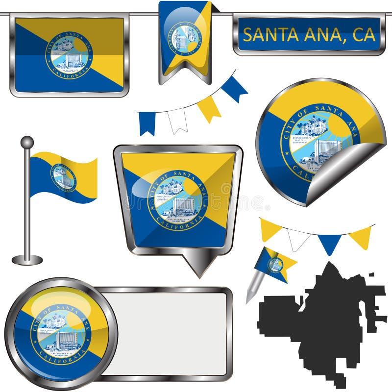与圣安娜,加州旗子的光滑的象  库存照片