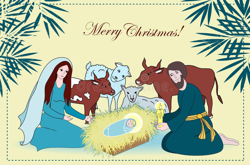 与圣徒家庭和动物的诞生场面 动画片传染媒介 皇族释放例证
