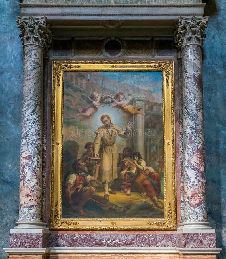与圣徒本尼迪克特约瑟夫Labre的油漆,在圣玛丽亚ai Monti教会里,在罗马,意大利 库存照片