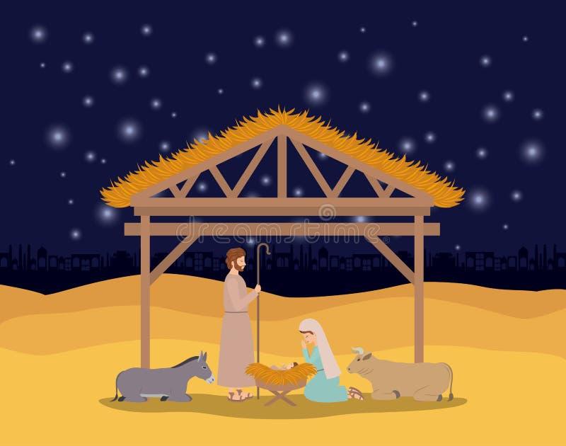 与圣洁家庭和动物的圣诞卡片在槽枥 向量例证