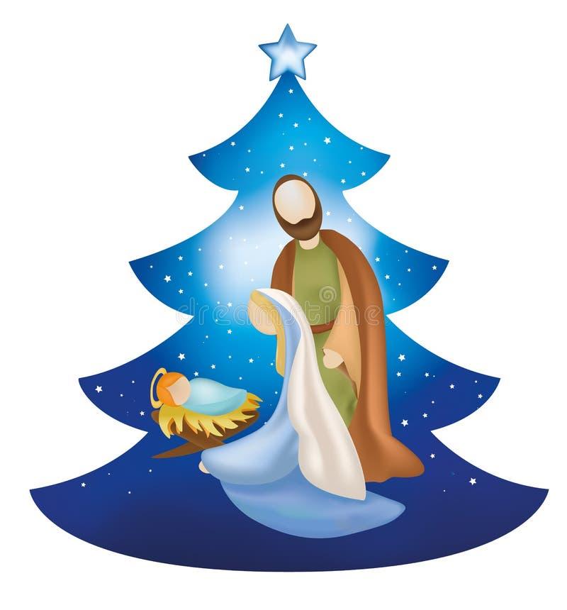 与圣洁家庭的被隔绝的圣诞树诞生场面在蓝色背景 向量例证