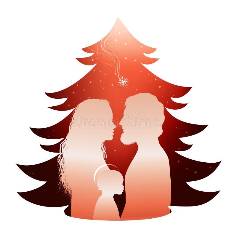 与圣洁家庭的被隔绝的圣诞树诞生场面 剪影外形丝毫约瑟夫-玛丽和小红色背景的耶稣 库存例证