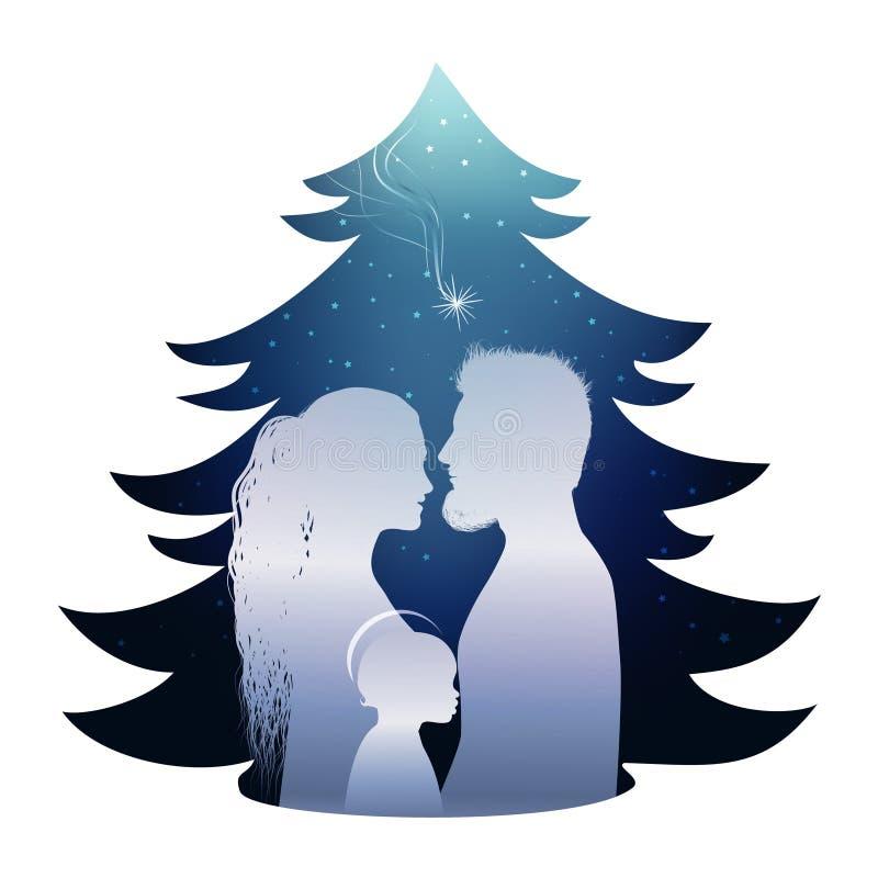 与圣洁家庭的被隔绝的圣诞树诞生场面 在蓝色背景的剪影外形 库存例证
