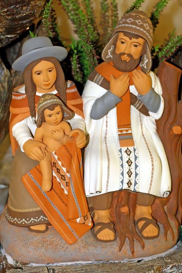 与圣洁系列和耶稣的秘鲁诞生场面 免版税库存图片