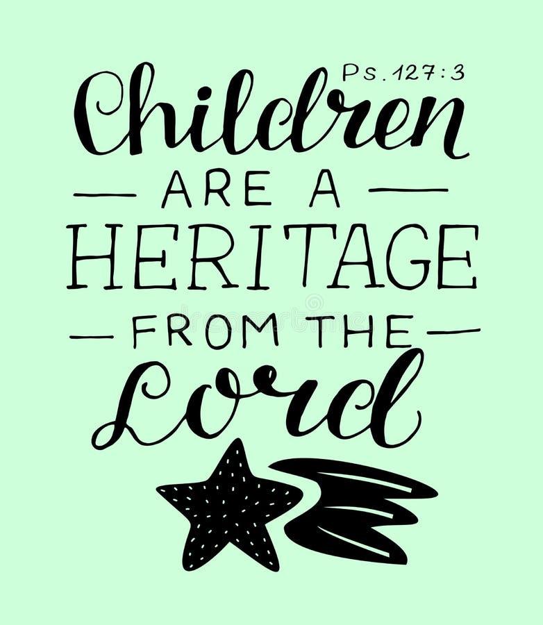与圣经诗歌孩子的手字法是从阁下的一份遗产 皇族释放例证