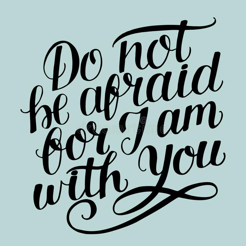 与圣经诗歌的手字法不害怕,为了我是以您 库存例证
