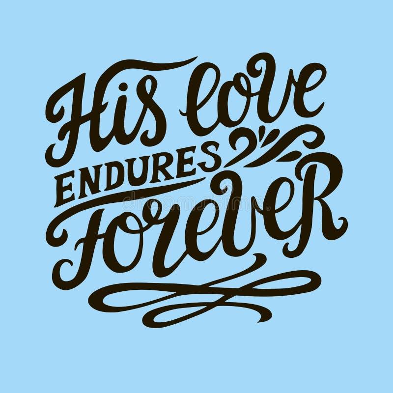与圣经诗歌的手字法他的爱忍受foreveron蓝色背景 赞美诗 皇族释放例证