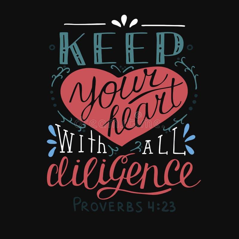 与圣经诗歌的手字法保留您的与所有努力的心脏在黑背景 谚语 库存例证