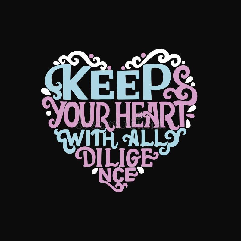 与圣经诗歌的手字法保留您的与所有努力的心脏在黑背景 向量例证