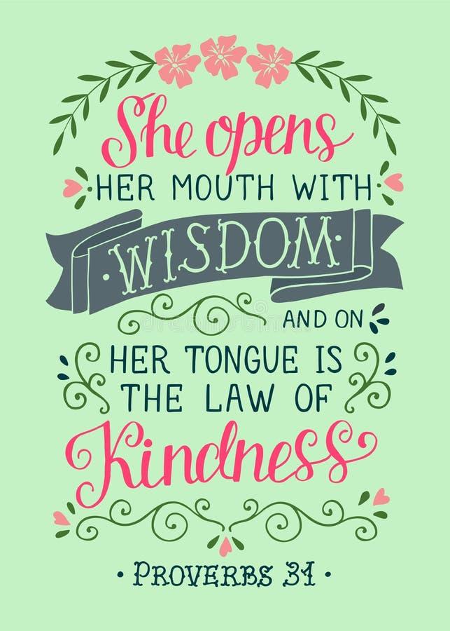 与圣经诗歌的手字法她打开她的与智慧的mounth 谚语 皇族释放例证
