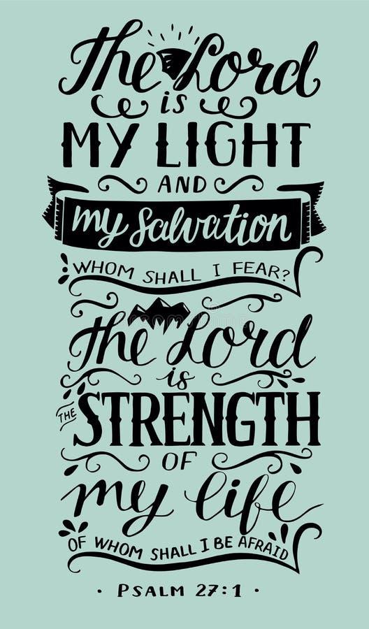 与圣经诗歌的手字法阁下是我的光和我的救世在蓝色背景 赞美诗 向量例证