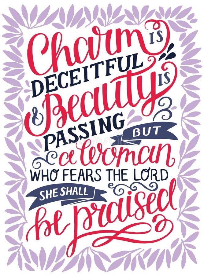 与圣经诗歌魅力的手字法是狡诈的,并且秀丽通过,但是妇女,恐惧阁下,她将被称赞 P 皇族释放例证