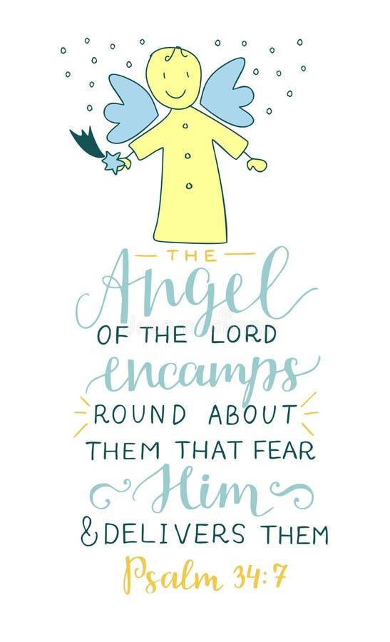 与圣经阁下的诗歌天使的手字法扎营迂回地恐惧他的他们并且交付 皇族释放例证