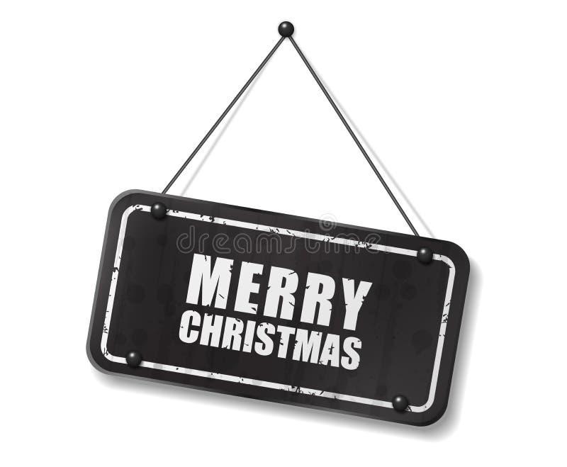 与圣诞快乐文本的葡萄酒老黑标志 向量例证