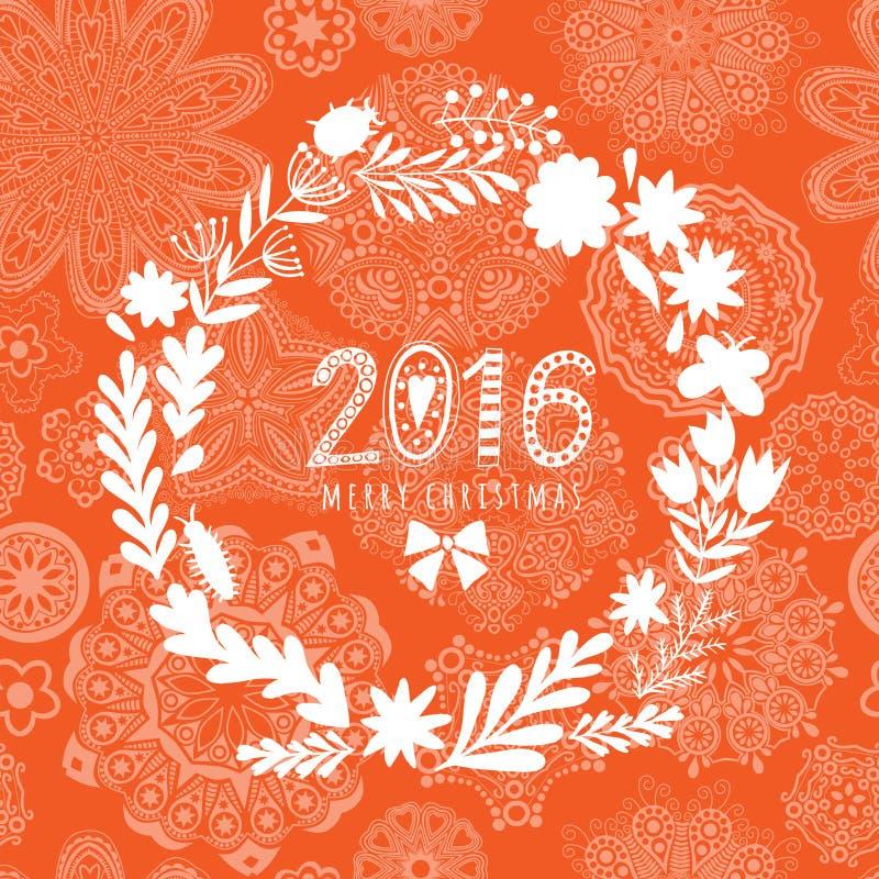 与圣诞快乐问候的传染媒介圆花卉花圈 导航花圈,装饰样式手拉的剪影与花的 皇族释放例证