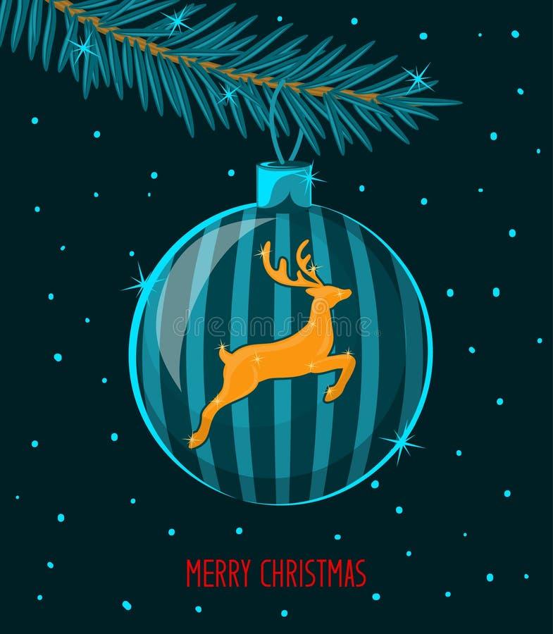 与圣诞树冷杉杉木分支和垂悬的球的圣诞快乐和新年快乐季节性冬天夜贺卡 向量例证