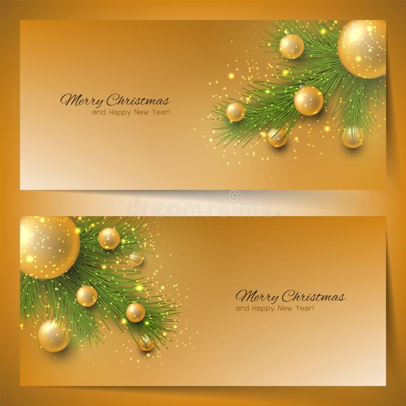 与圣诞树和圣诞节玩具的典雅的圣诞节横幅 库存例证