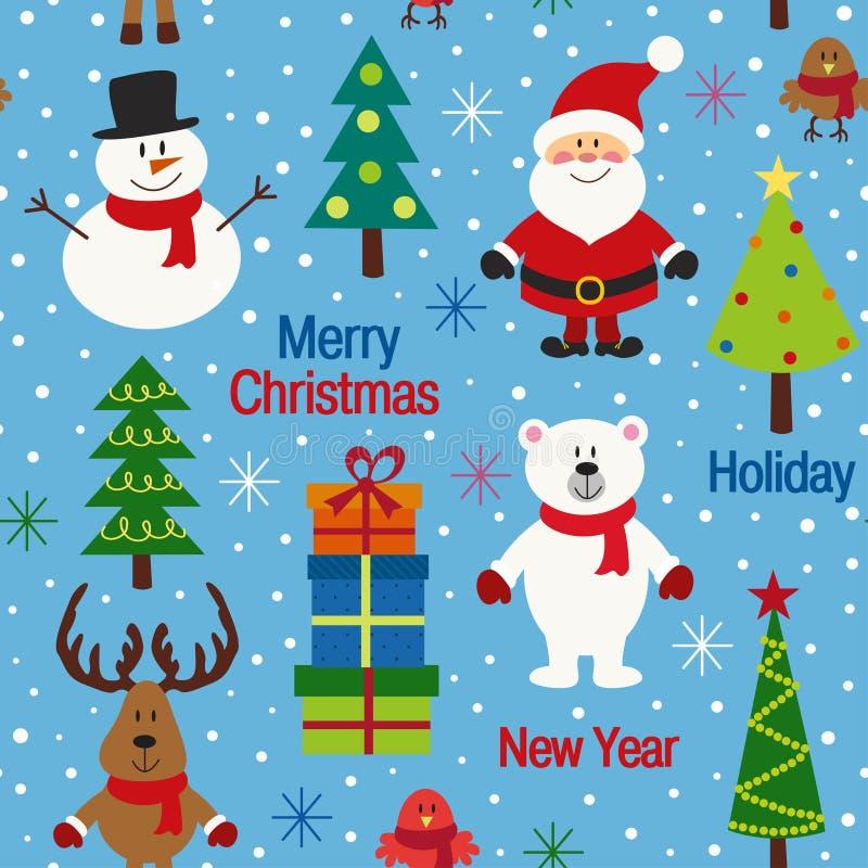 与圣诞树和字符的无缝的样式蓝色 向量例证