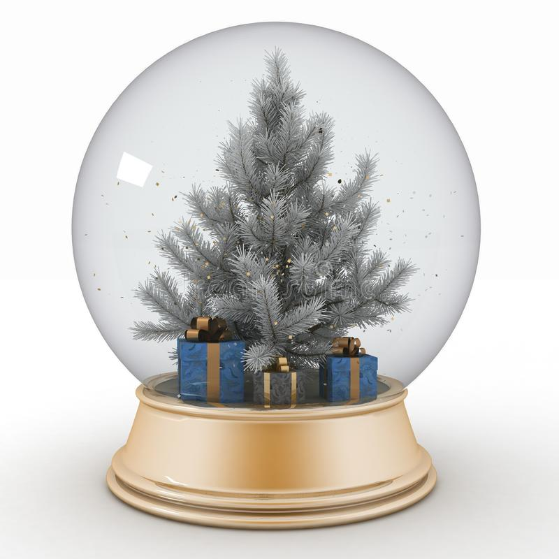 与圣诞树和礼物的雪球 库存例证
