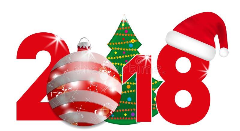 与圣诞树和红色球和圣诞老人帽子的2018年数字在白色背景 新年和圣诞节元素设计的 向量例证