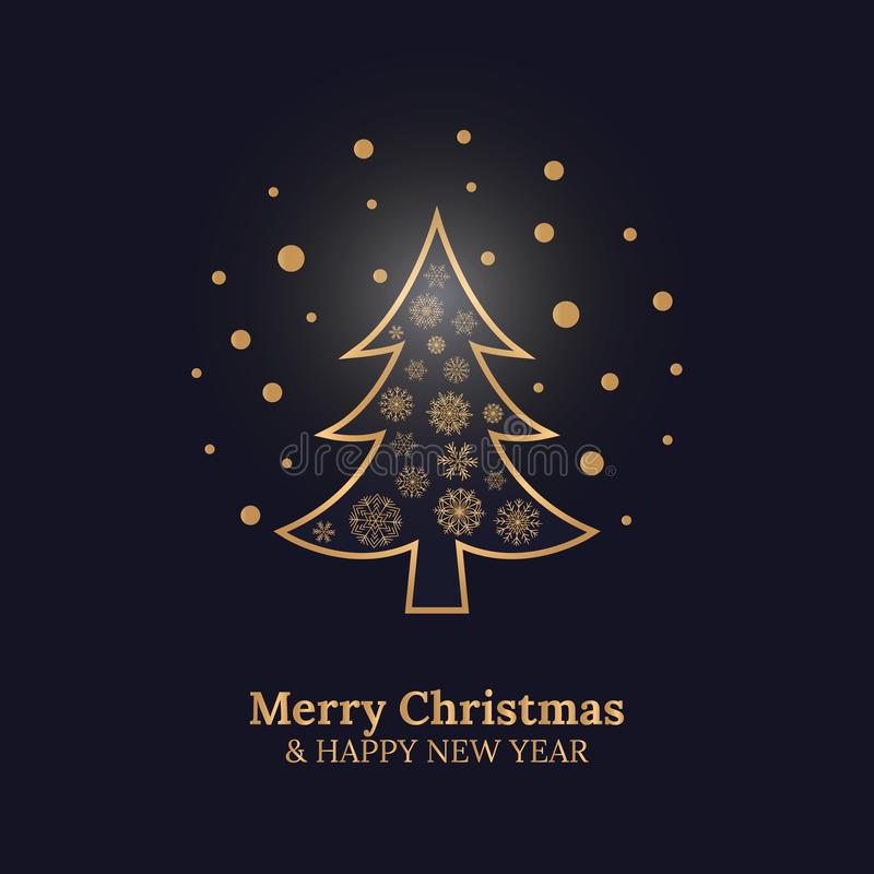 与圣诞树和金雪花的圣诞快乐和新年快乐卡片在深蓝背景 皇族释放例证