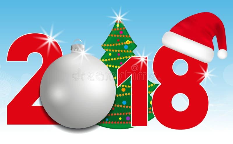与圣诞树和银球和圣诞老人帽子的2018年数字在蓝色背景 新年和圣诞节元素desi的 向量例证