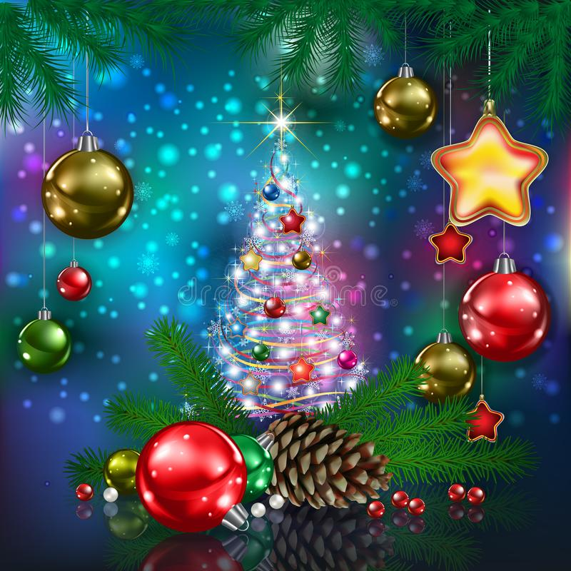 与圣诞树和雪花的庆祝问候 库存照片