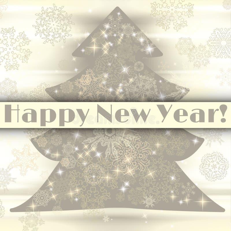 与圣诞树和雪花的新年背景 向量例证
