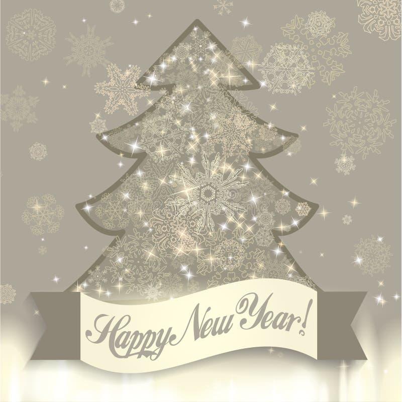 与圣诞树和雪花的新年背景 皇族释放例证