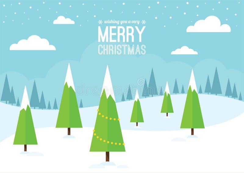与圣诞树的冬天场面 库存例证
