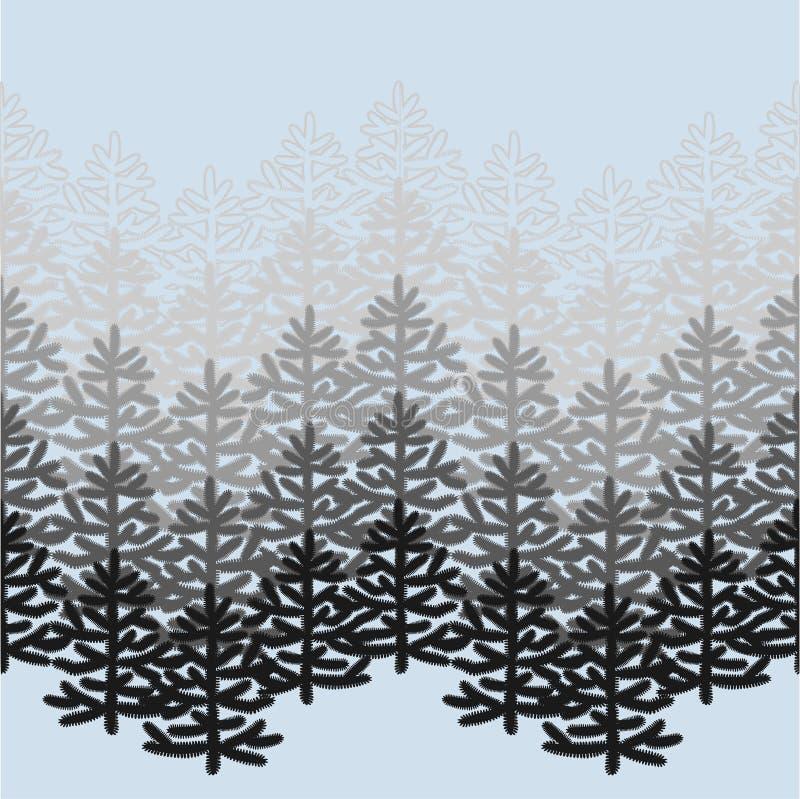 与圣诞树的单色水平的无缝的样式在蓝色 皇族释放例证
