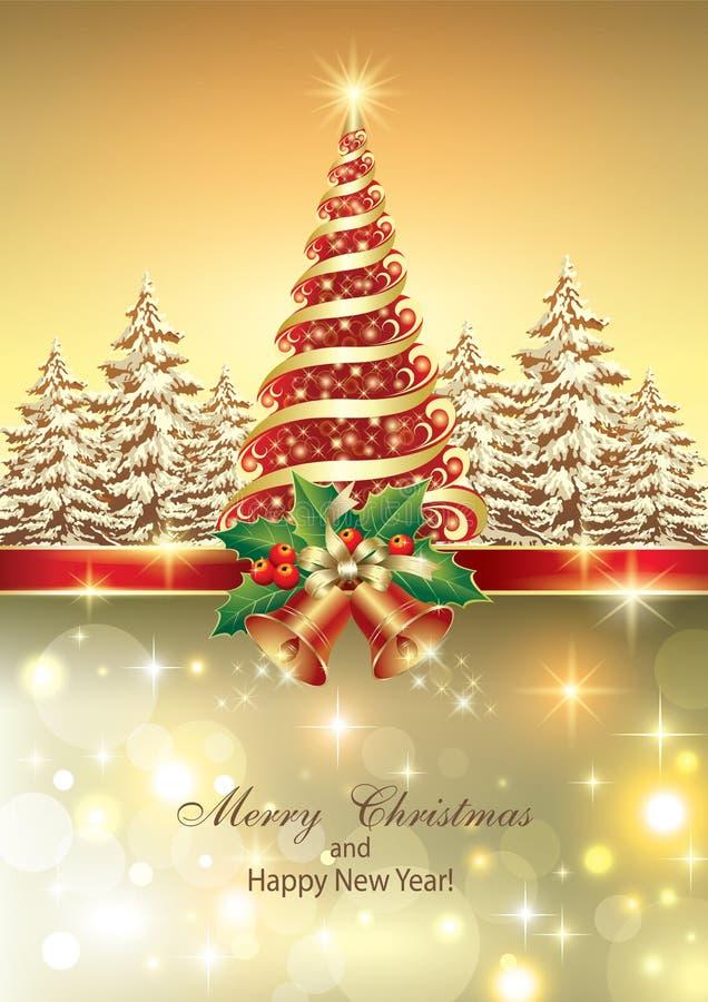 与圣诞树的圣诞卡 库存例证