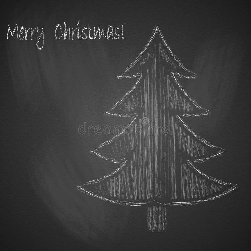 与圣诞树的圣诞节背景画与在黑黑板的白垩 皇族释放例证