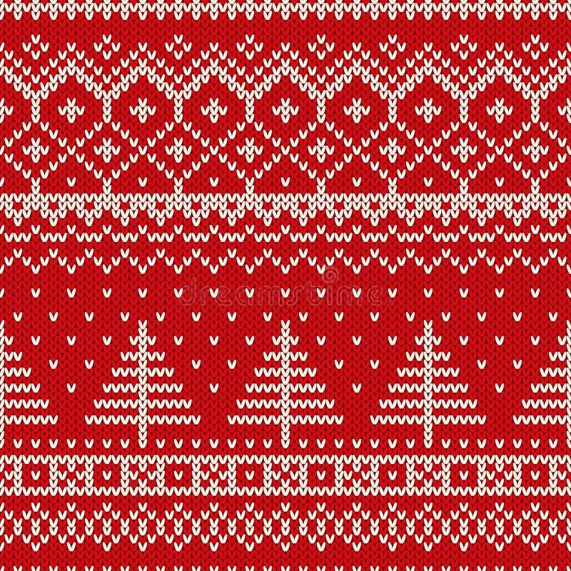 与圣诞树的寒假无缝的编织的样式 库存例证