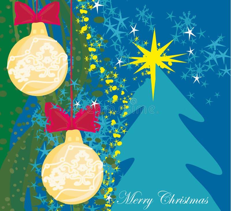 与圣诞树的抽象卡片 向量例证