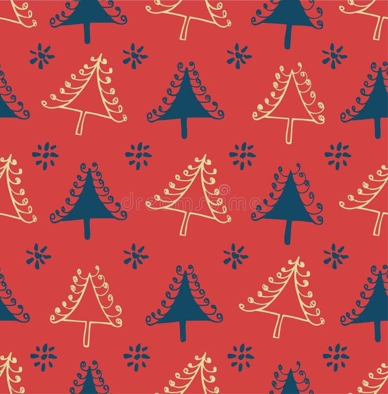 与圣诞树的无缝的冬天样式 与装饰云杉的包裹纹理 工艺的抽象假日背景,印刷品 库存例证