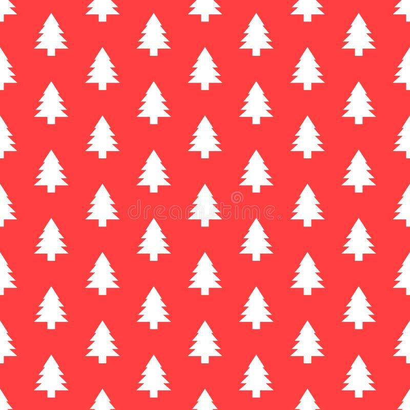 与圣诞树的无缝的样式 墙纸或包装纸的Xmas纹理 库存例证