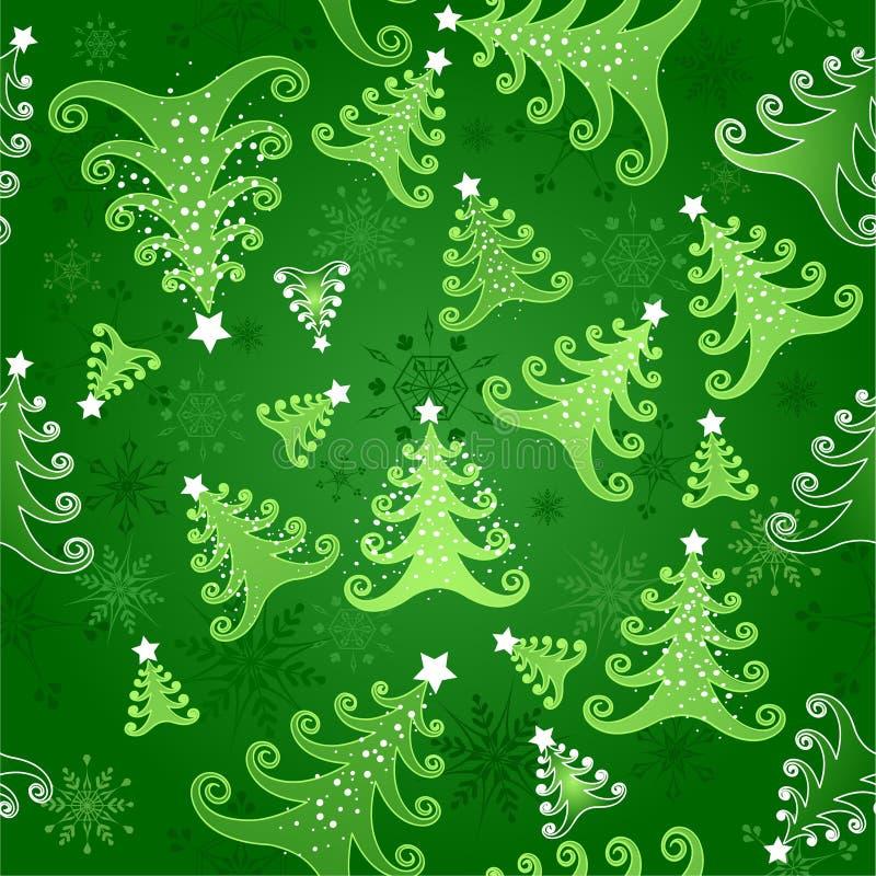 与圣诞树的无缝的背景 库存例证