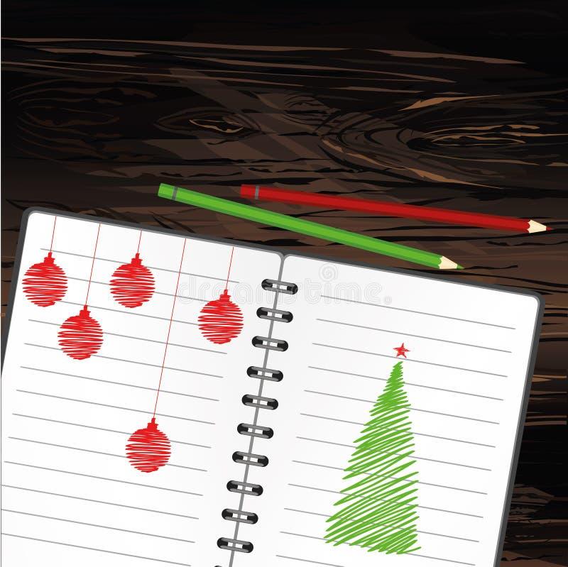 与圣诞树的现实被打开的笔记本模板和球和铅笔 在木背景的传染媒介 事务的日志 库存例证