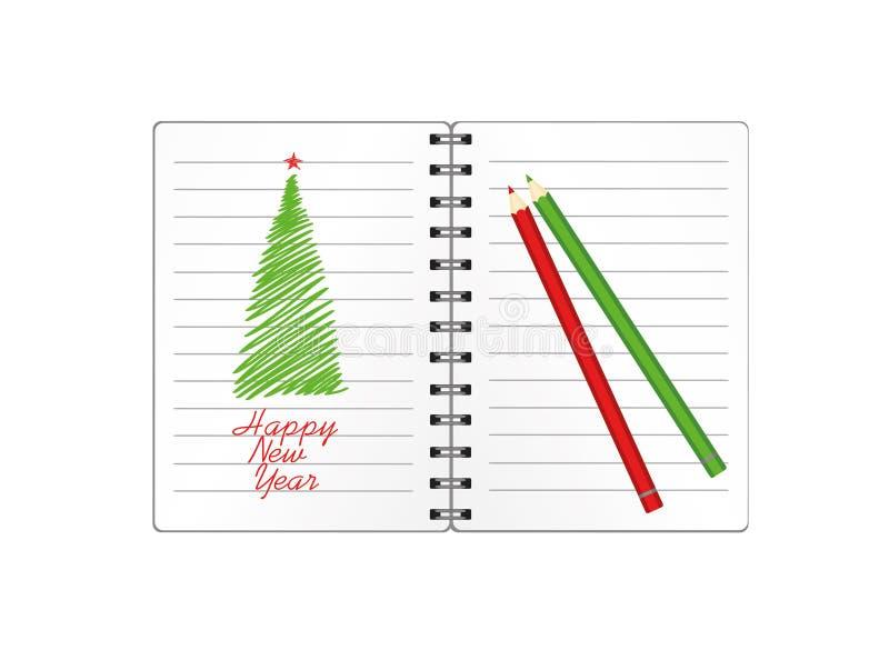 与圣诞树的现实被打开的笔记本模板和球和铅笔 在白色背景的传染媒介 事务的日志 皇族释放例证