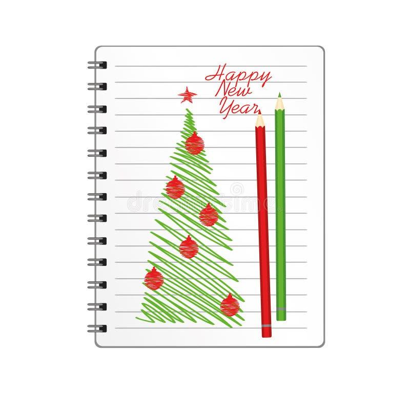 与圣诞树的现实被打开的笔记本模板和球和铅笔 在白色背景的传染媒介 事务的日志 向量例证