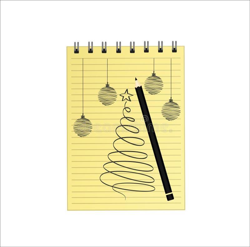 与圣诞树的现实被打开的笔记本模板和球和铅笔 在白色背景的传染媒介 事务的日志 库存例证