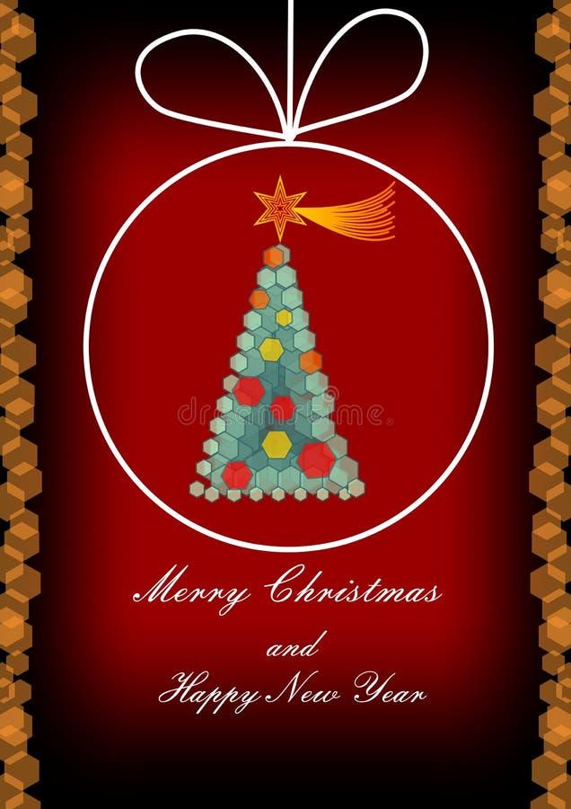与圣诞树的现代圣诞节贺卡组成由在深红背景的六角元素 库存例证