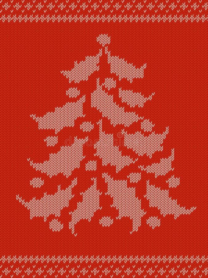 与圣诞树的红色被编织的样式 免版税库存图片