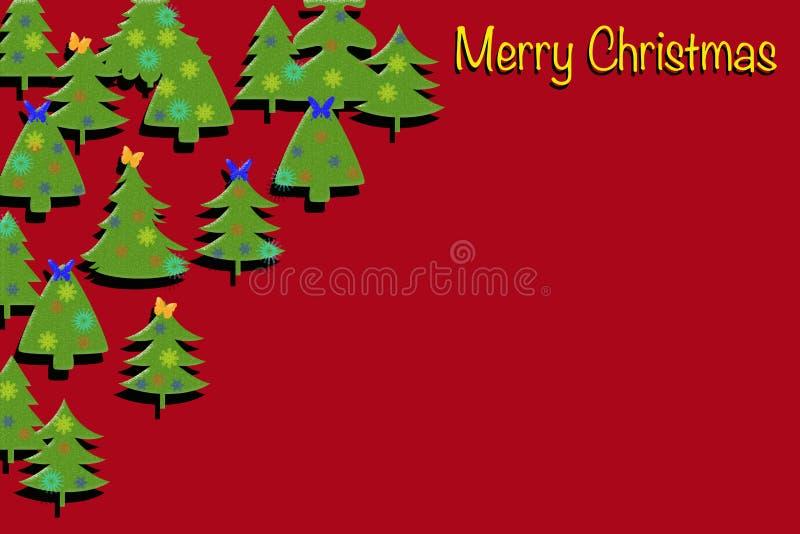 与圣诞树的红色装饰卡片 免版税库存照片