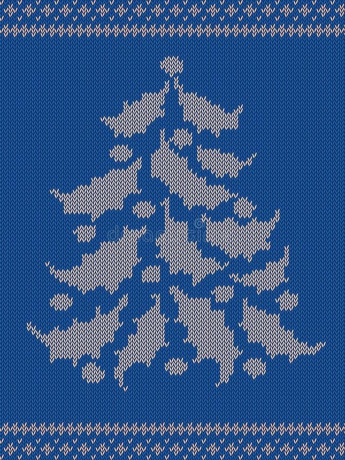 与圣诞树的蓝色被编织的样式 免版税库存照片