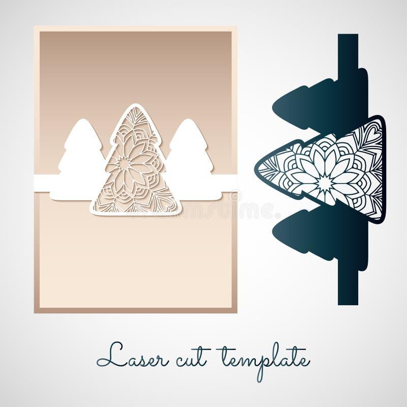 与圣诞树的透雕细工纸装饰 激光切口templat 皇族释放例证