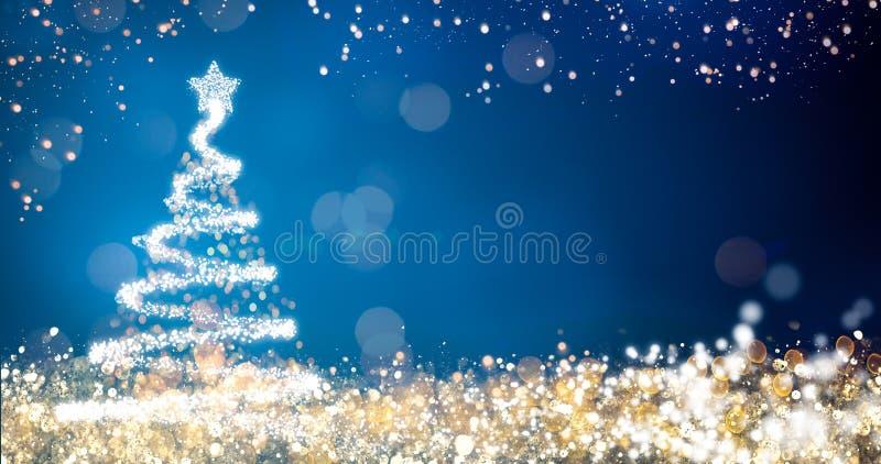与圣诞树的金黄和银色光在蓝色背景,快活的xmas问候消息的明亮的装饰 库存例证